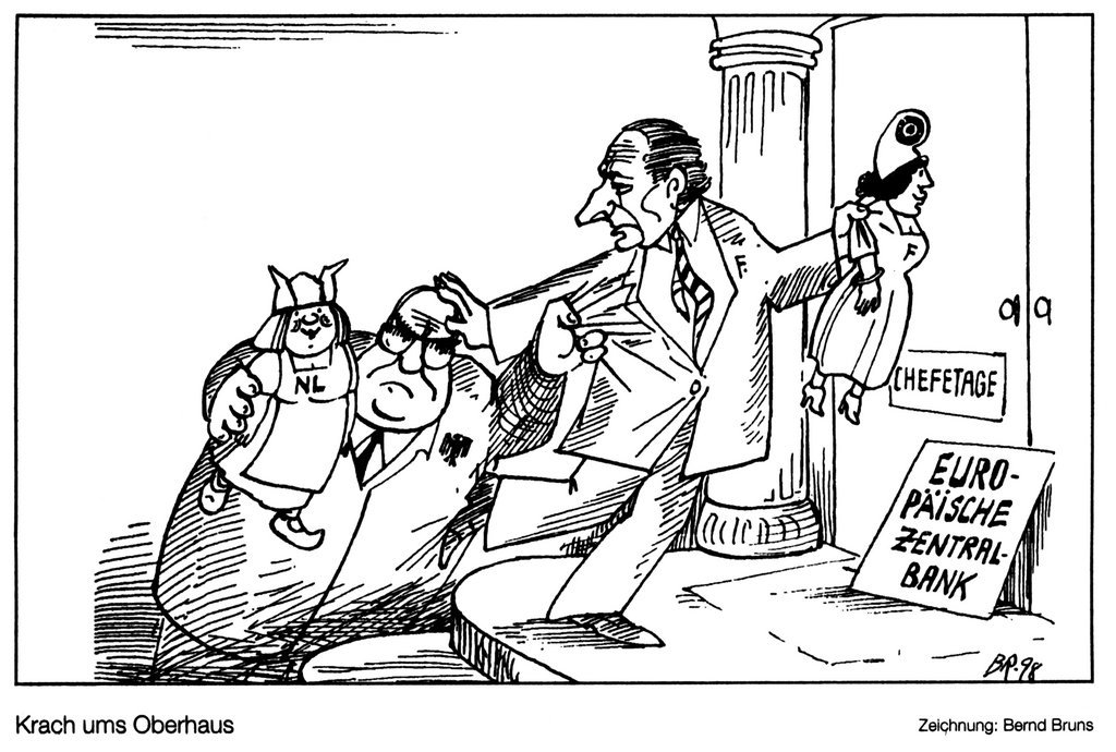 Cartoon by Bruns on tensions between France and Germany over the ECB (22 April 1998)