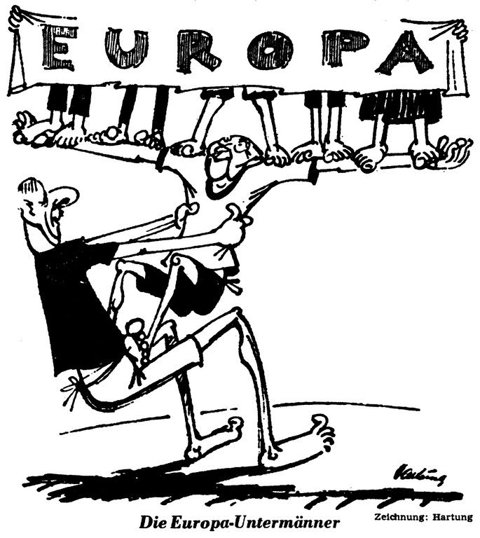 Cartoon by Hartung on the role of the Franco-German duo in the European integration process (7 September 1962)