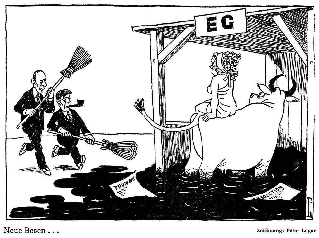 Cartoon by Leger on the revival of the European integration process (10 July 1974)