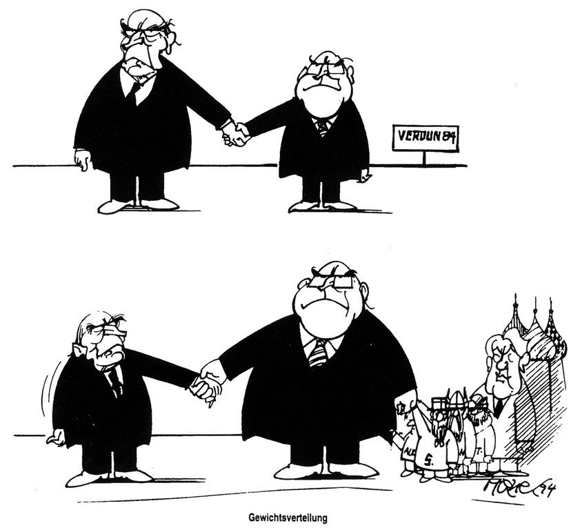 Cartoon by Hanel on Germany's new clout on the international stage (25 March 1994)