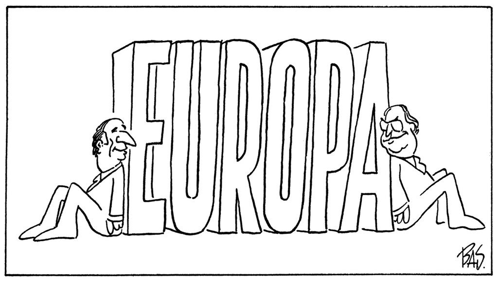 Cartoon by Bas on France and the FRG, pillars of Europe (12 November 1987)