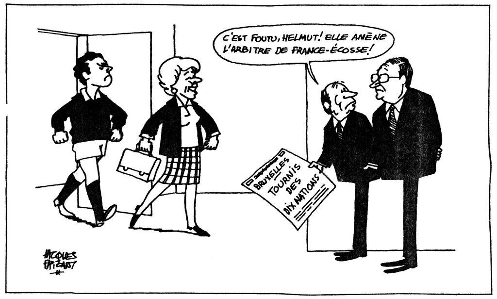 Cartoon by Faizant on the difficult negotiations on the British contribution to the Community budget (20 March 1984)