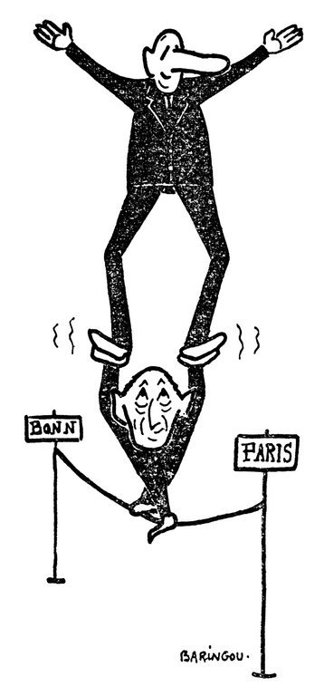 Cartoon by Baringou on Franco-German cooperation (24 January 1963)