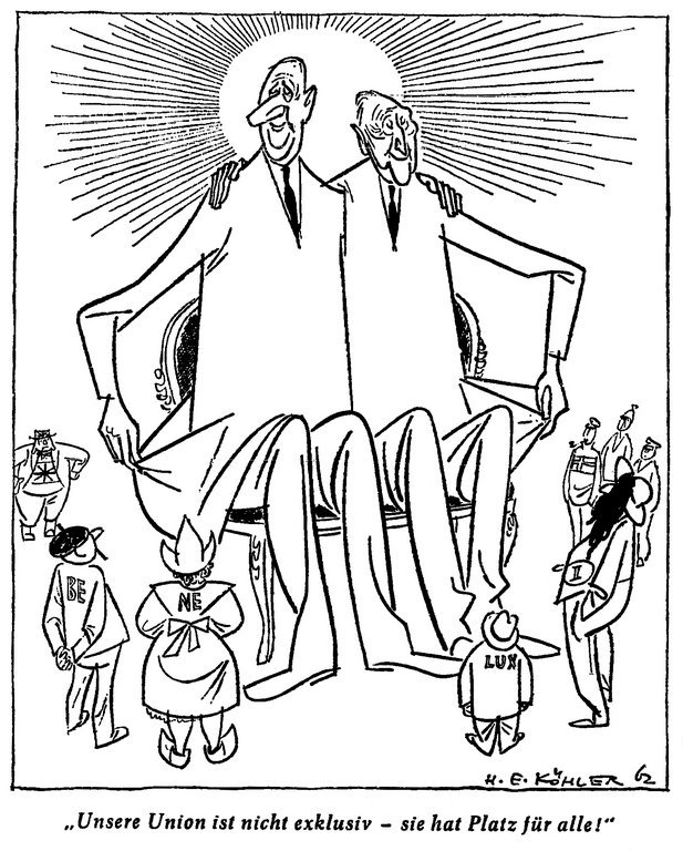 Cartoon by Köhler on the role of the Franco-German duo in the European integration process (12 September 1962)
