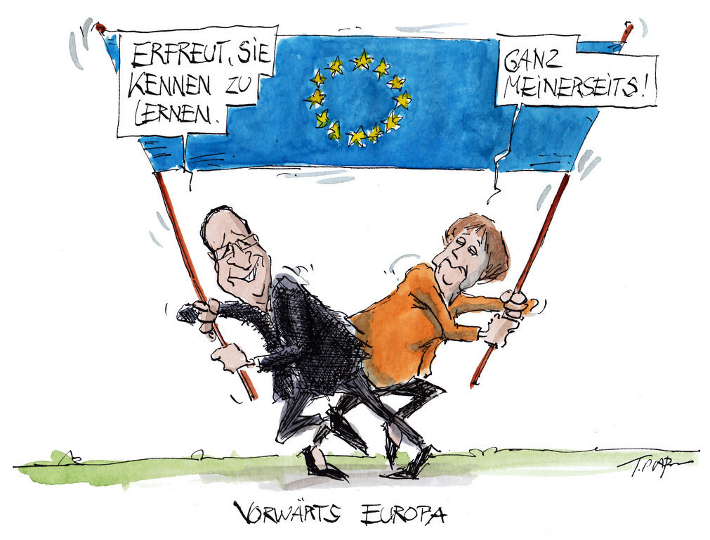 Cartoon by Plaßmann on the action of the Merkel–Hollande duo in favour of Europe (16 May 2012)