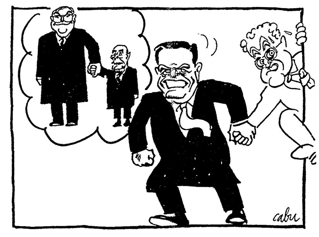 Cartoon by Cabu on the difficult relations between France and Germany (21 October 1998)