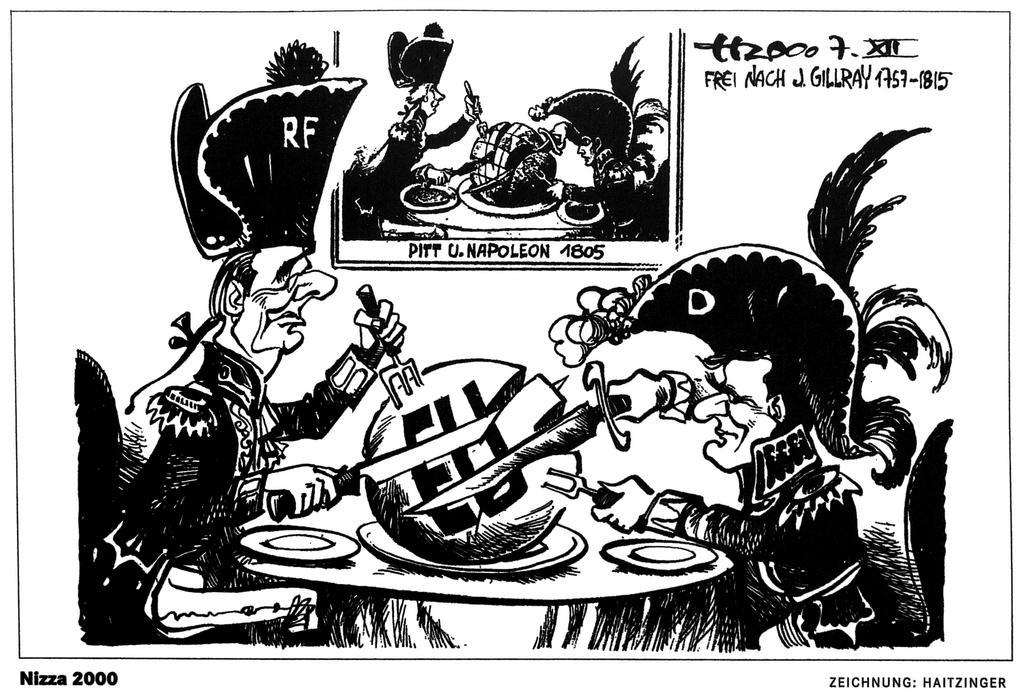 Cartoon by Haitzinger on the issues surrounding the Nice European Council (7 December 2000)