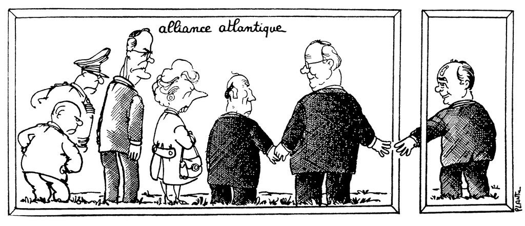 Cartoon by Plantu on the rapprochement between the FRG and the USSR (30 May 1989)