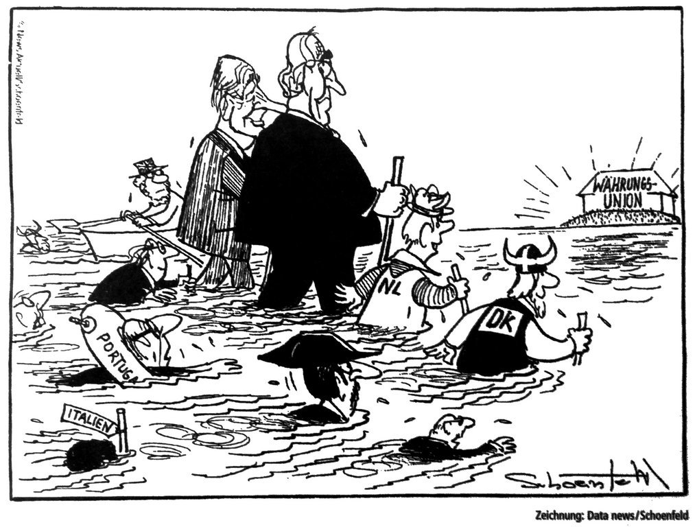 Cartoon by Schoenfeld on the establishment of Economic and Monetary Union (16 November 1995)
