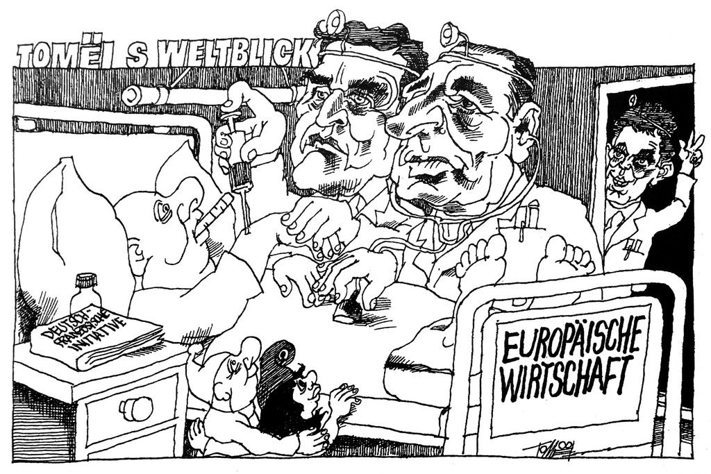 Cartoon by Tomeï on the Franco-German duo and the relaunch of the European economy (20 September 2003)