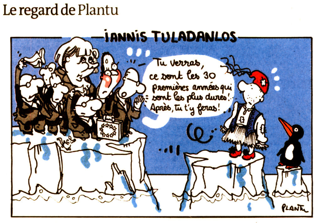 Cartoon by Plantu on the austerity plans in Greece (25 May 2012)