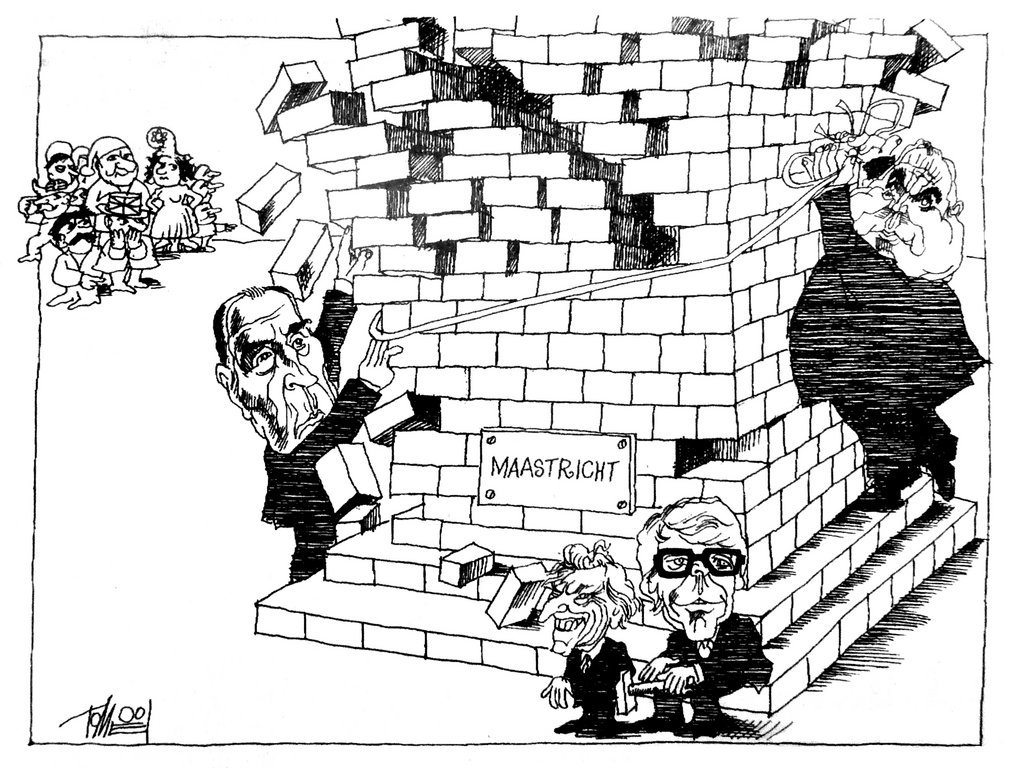 Caricature de Tomeï sur la difficile ratification du traité de Maastricht (26 septembre 1992)