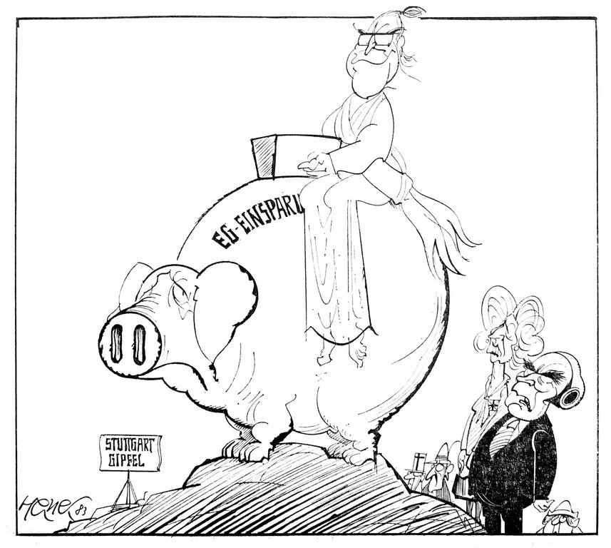 Cartoon by Hanel on the funding of the European budget: the Stuttgart European Council (20 June 1983)
