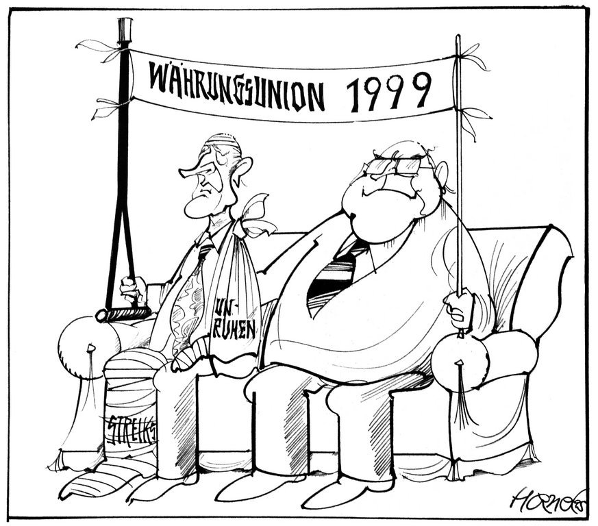 Cartoon by Hanel on the Franco-German duo and the timetable for monetary union (9 December 1995)