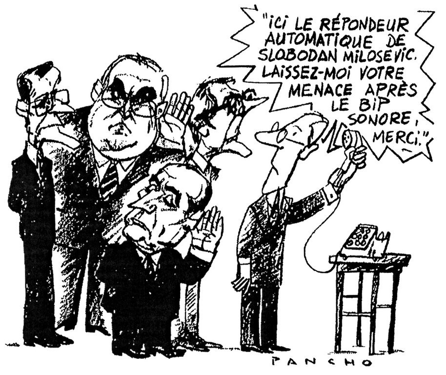Cartoon by Pancho on the international community and the war in the former Yugoslavia (8 January 1993)