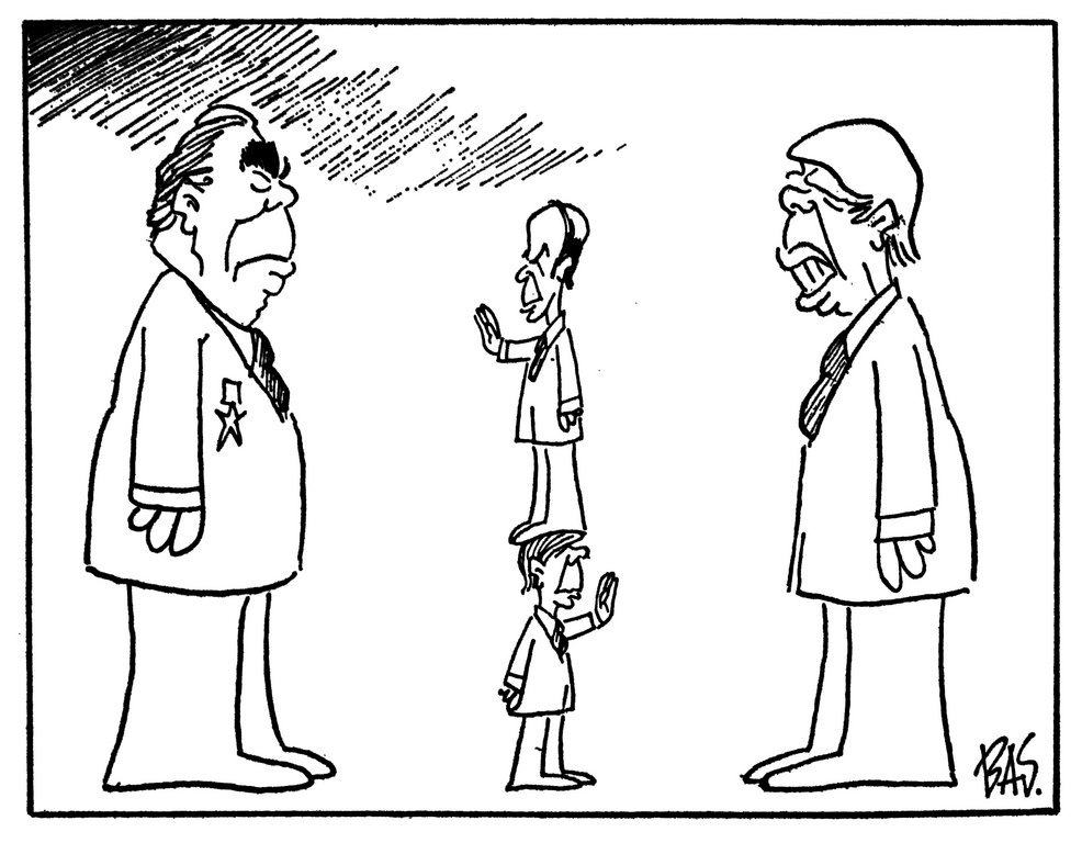 Cartoon by Bas on the policy of détente pursued by the Franco-German duo (21 March 1980)