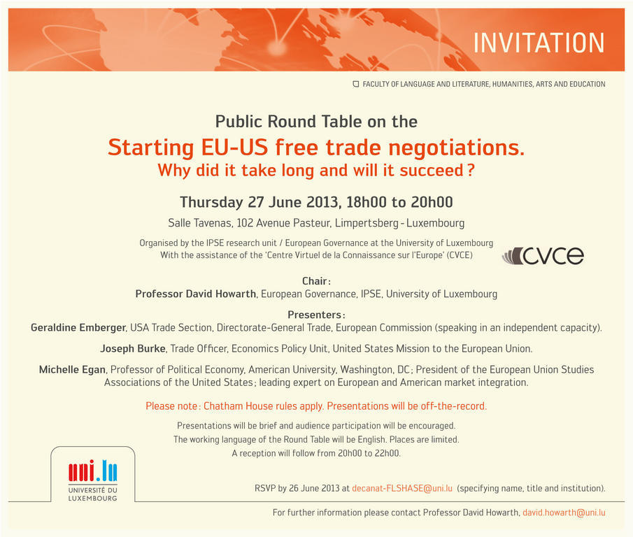 "Round table ""Starting EU-US free trade negotiations"""