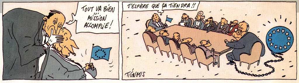Cartoon by Tignous on France's position on the question of German reunification (14 December 1989)