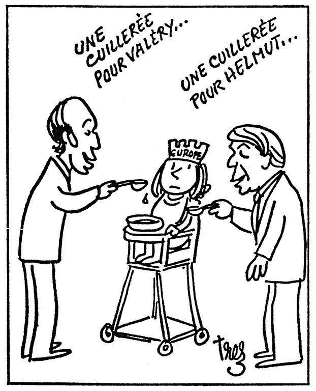 Cartoon by Trez on the action of the Franco-German duo in favour of Europe (14 February 1976)