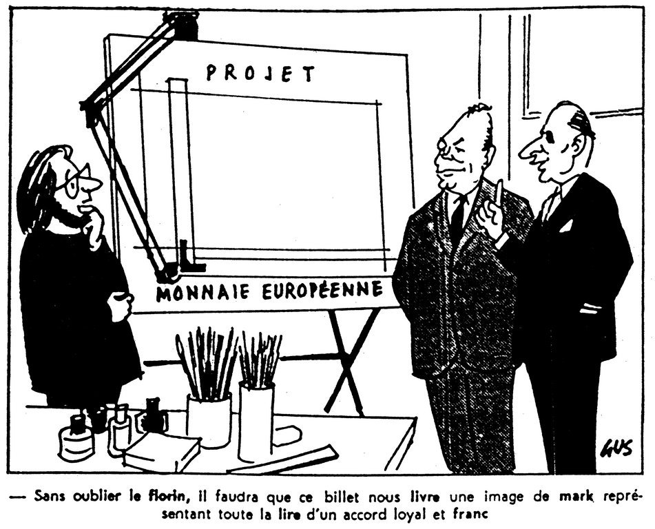 Cartoon by Gus on the European currency project (29 January 1971)