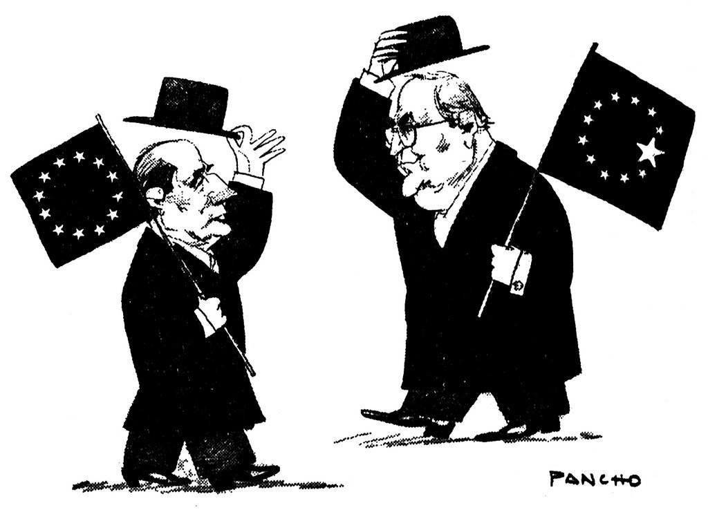 Cartoon by Pancho on the question of Germany's future within the EU (21 December 1989)