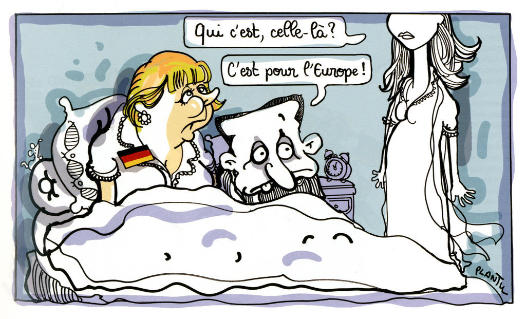 Cartoon by Plantu on the Franco-German duo and the euro zone crisis (14–15 August 2011)