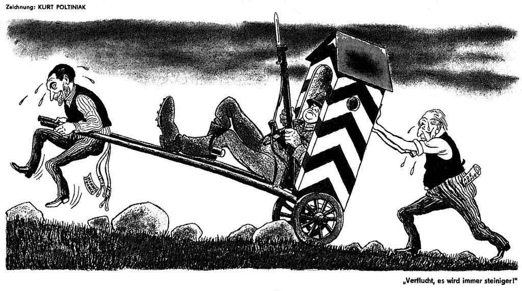Cartoon by Poltiniak on the question of West German rearmament (1955)