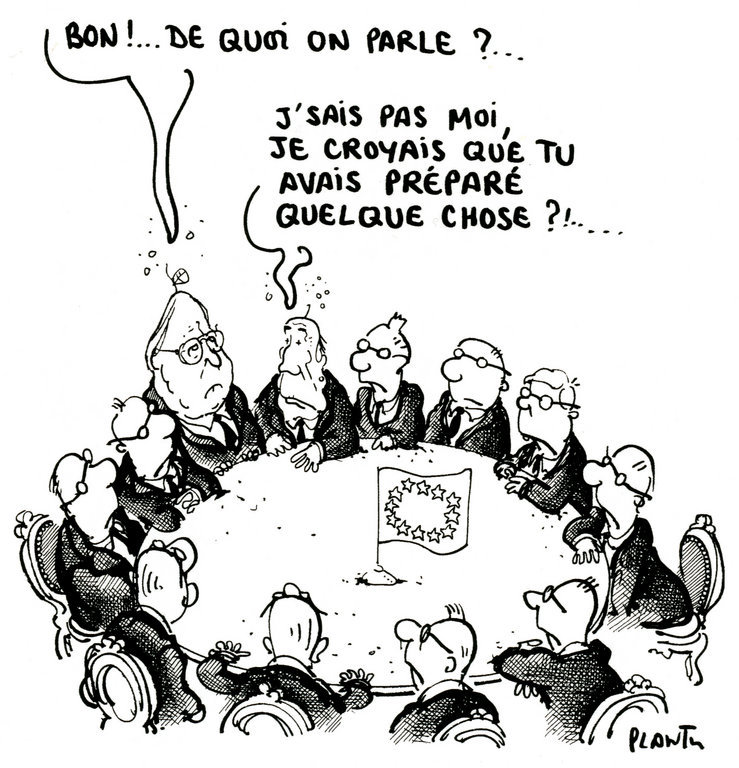 Cartoon by Plantu on the question of Europe's economic recovery (30 October 1993)