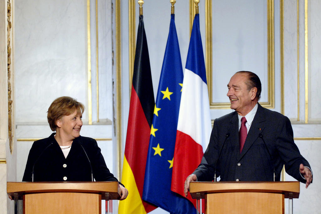 First meeting between French President Jacques Chirac and German Chancellor Angela Merkel (Paris, 23 November 2005)