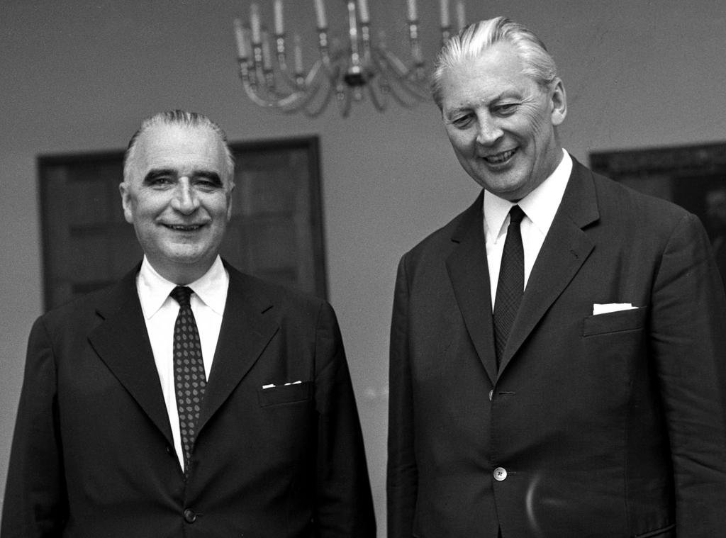 Georges Pompidou and Kurt Georg Kiesinger at the Franco-German consultations in Bonn (12 July 1967)