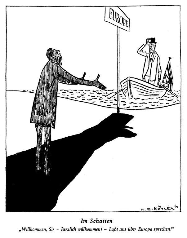 Cartoon by Köhler on the difficult question of British accession to the Common Market (10 August 1960)