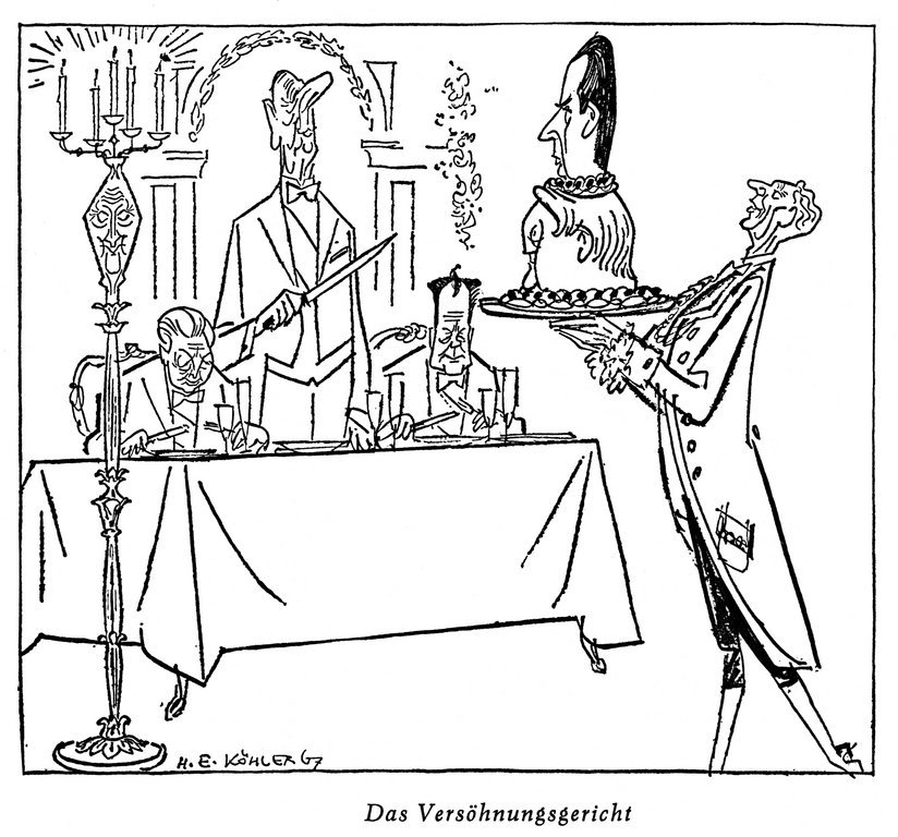 Cartoon by Köhler on tensions within the Franco-German relationship (14 January 1967)