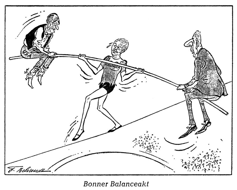 Cartoon by Behrendt on Chancellor Kiesinger's foreign policy (26 April 1967)