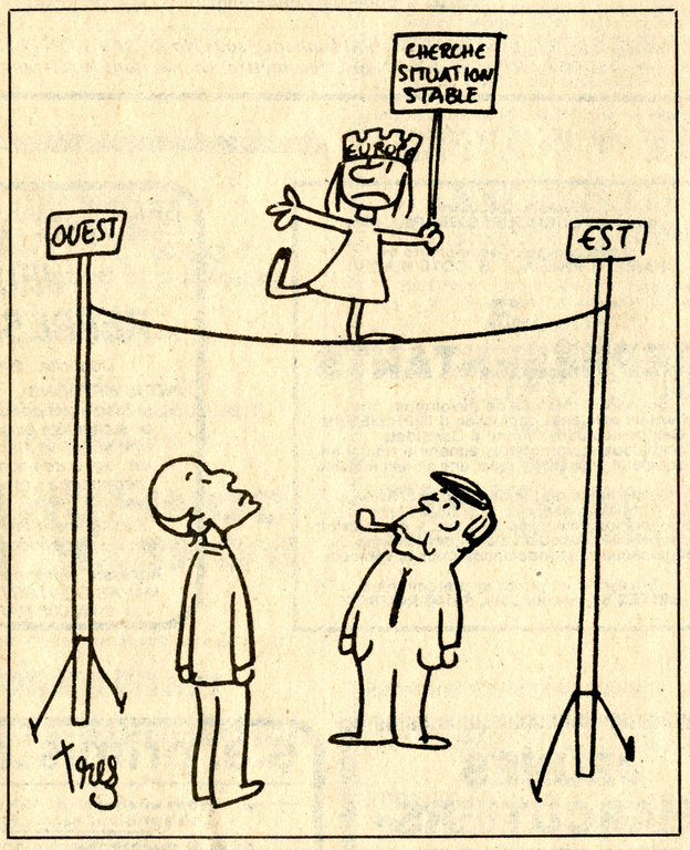Cartoon by Trez on the Franco-German duo and the European question (7 July 1980)