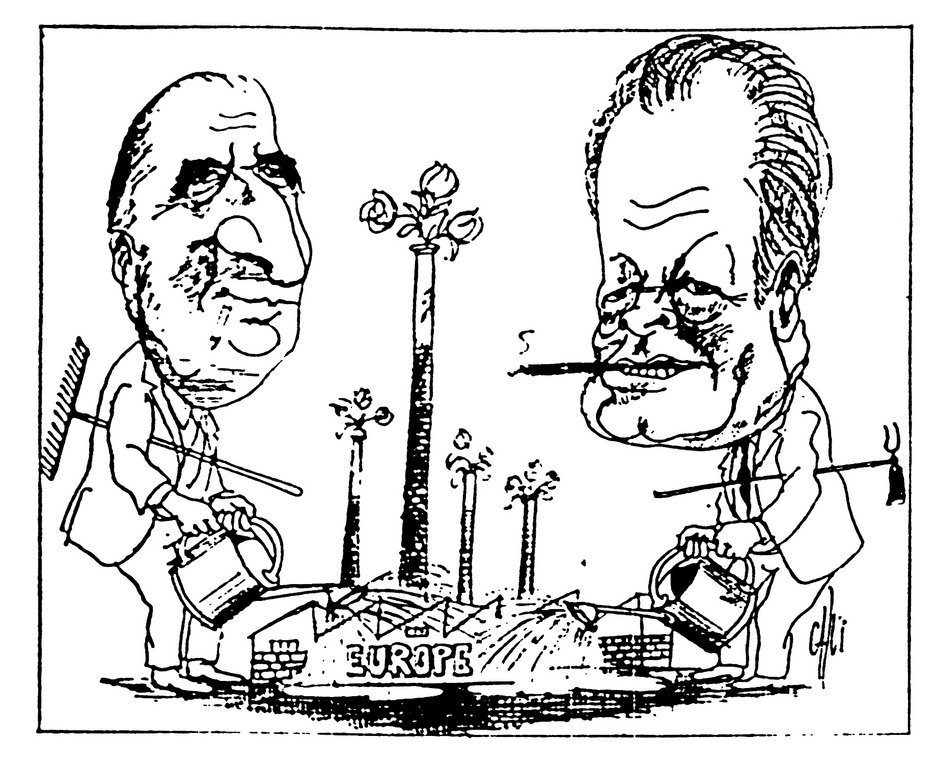 Cartoon by Calvi on the European action of President Pompidou and Chancellor Schmidt (28 January 1971)