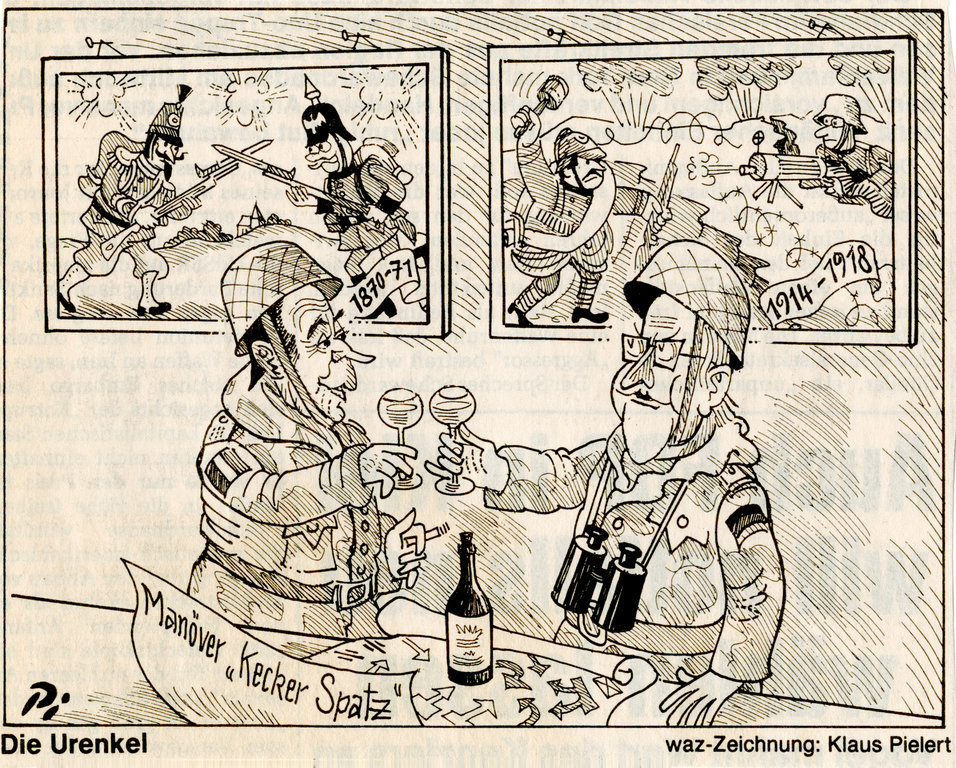 Cartoon by Pielert on Franco-German military cooperation (25 September 1987)