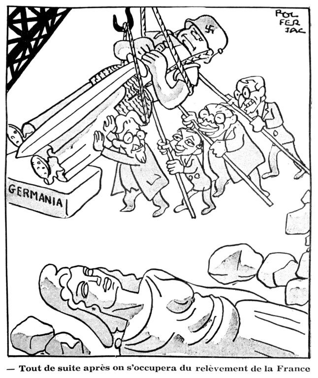 Cartoon by Ferjac on the recovery of post-war Germany (23 September 1947)