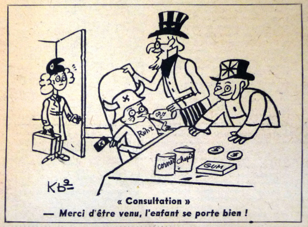 Caricature de Kb2 sur la question de la Ruhr (23 septembre 1947)