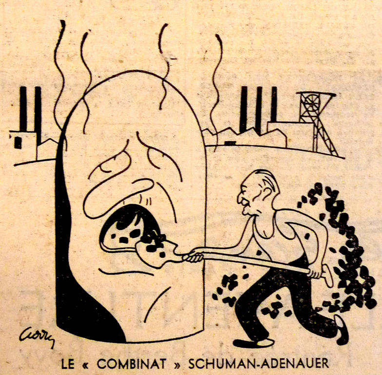 Cartoon by Curry on the implications of the Schuman Plan (11 May 1950)