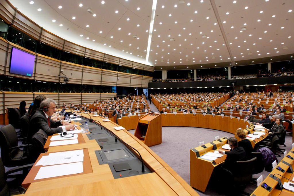 View of the European Parliament Hemicycle in Brussels