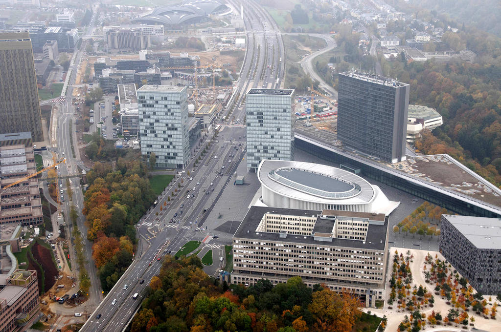 Aerial view of the European Parliament building in Luxembourg (2009)