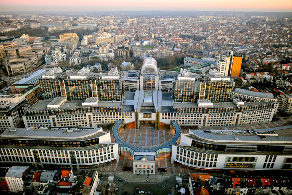 Aerial view of the European Parliament buildings in Brussels (2012)