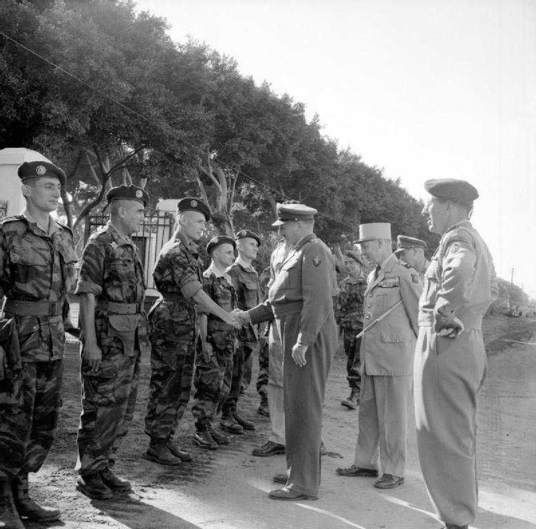 British General Sir Charles Keightley and French General Jacques Massu during the Franco-British military intervention in the Suez (1956)