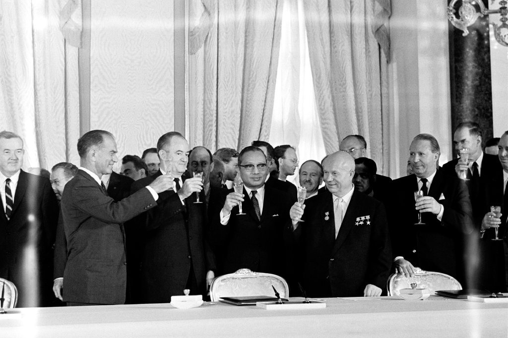 Signing ceremony for the Limited Test Ban Treaty (Moscow, 5 August 1963)