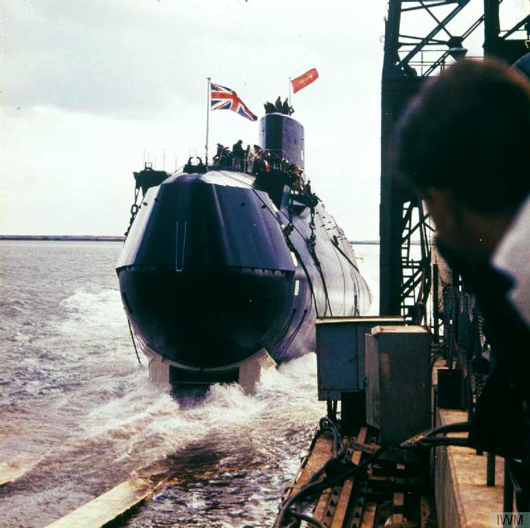 Launch of HMS <i>Resolution</i>, the first British Polaris-class nuclear-powered ballistic missile submarine (15 September 1966)