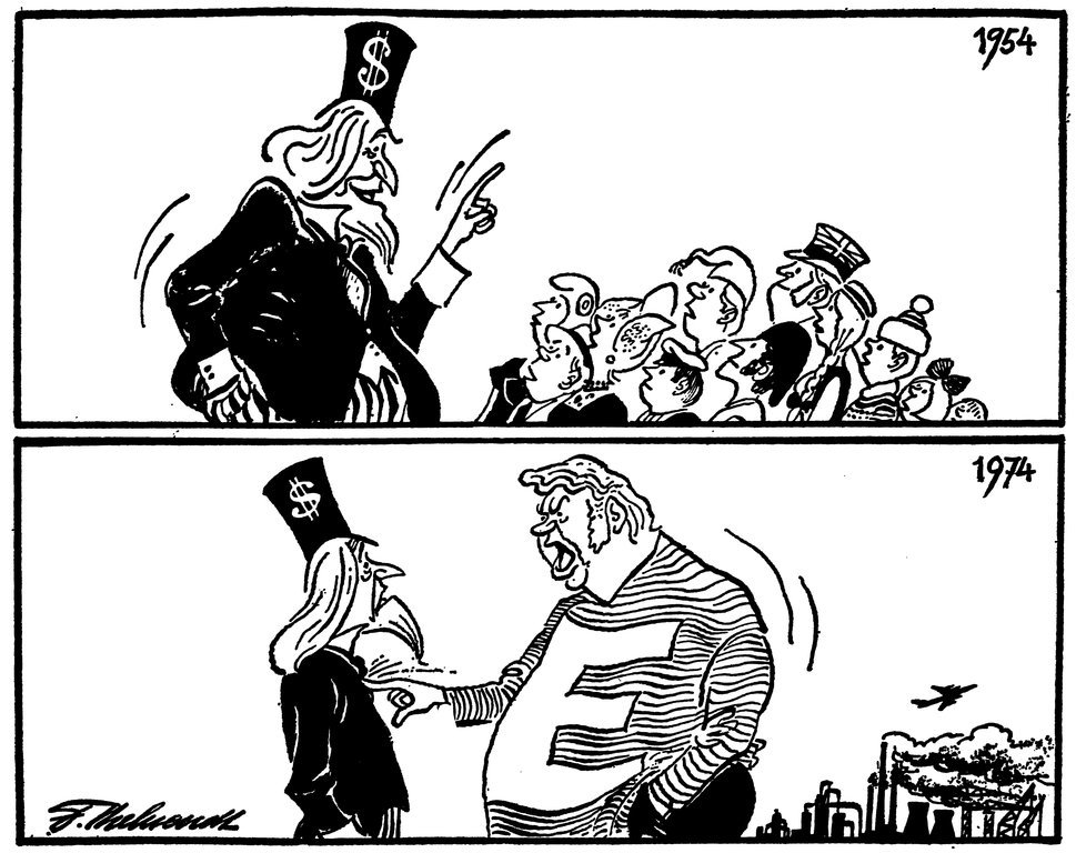 Cartoon by Behrendt on the changing relations between Europe and the United States (20 March 1974)
