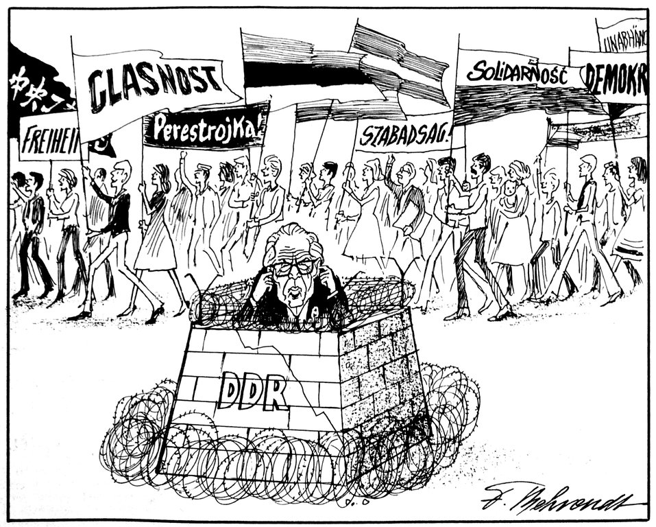 Cartoon by Behrendt on the protest movements in the GDR (10 July 1989)