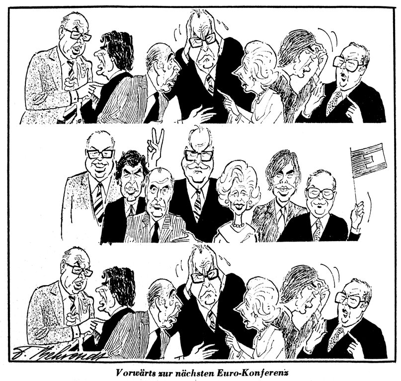 Cartoon by Behrendt on the difficult negotiations during European Councils (23 July 1985)