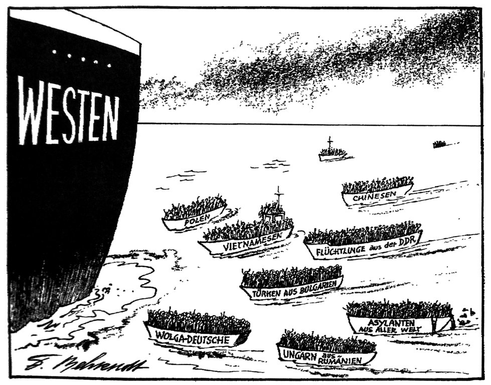Cartoon by Behrendt on the arrival of refugees in the West (12 August 1989)