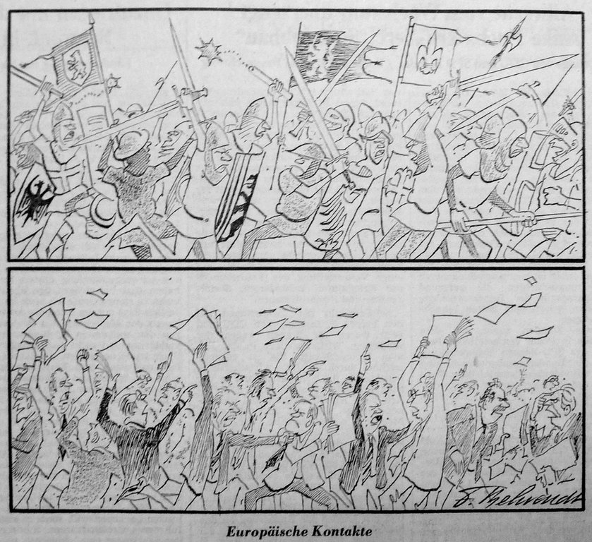 Cartoon by Behrendt on the political divisions in the European Community (19 March 1984)